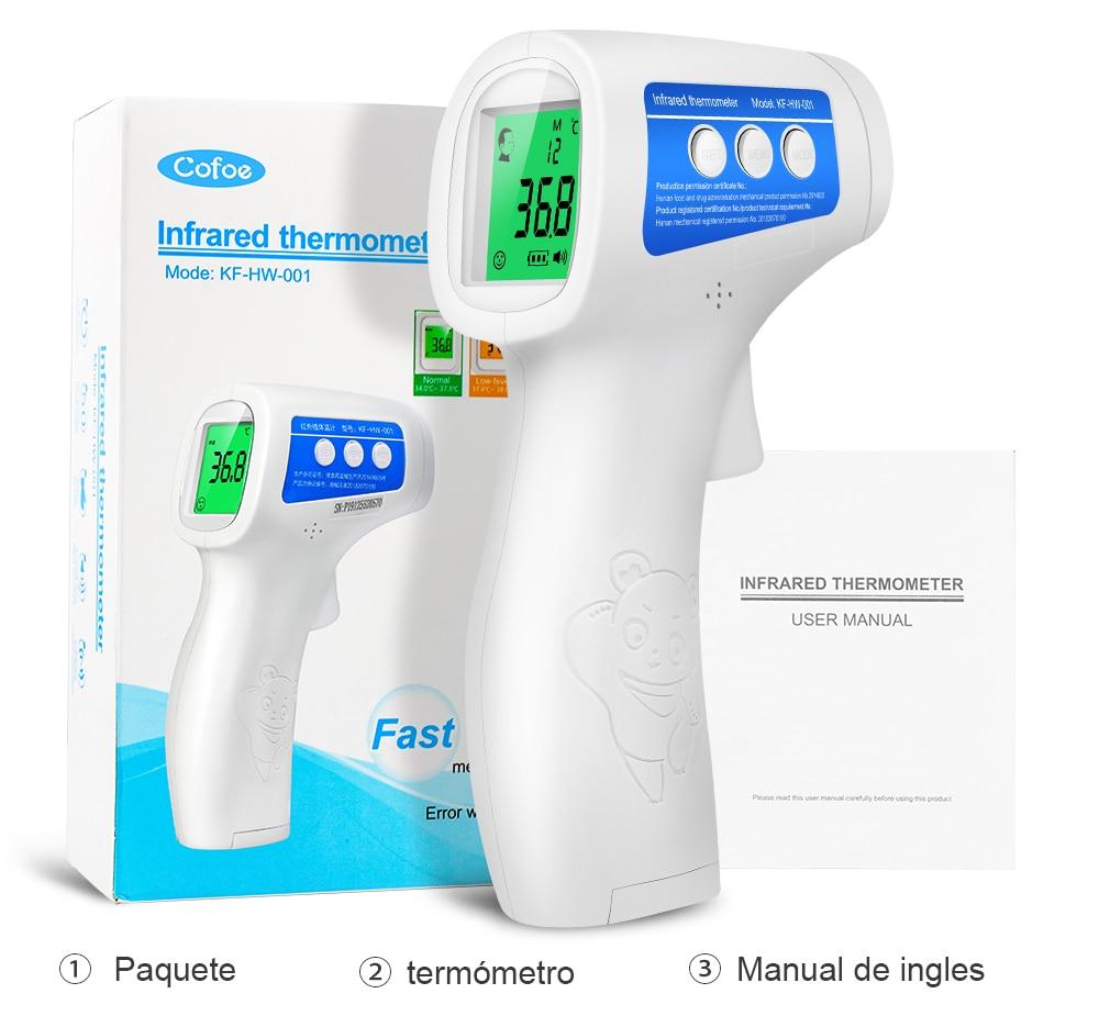 Cofoe-termómetro Digital para la frente, termómetro médico infrarrojo sin contacto, herramienta para medir la temperatura corporal, para bebés y adultos